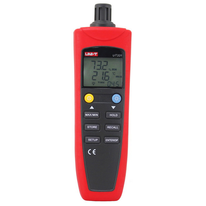 UNI-T UT331 Digital Thermo-HygrometerTesters &amp; Detectors<br>Form  ColorRed + GreyModelUT331Quantity1 DX.PCM.Model.AttributeModel.UnitMaterialABSScreen Size1.74 DX.PCM.Model.AttributeModel.UnitPowered ByAAA BatteryBattery Number4Battery included or notYesOther FeaturesFeatures<br>°C/°F Selection<br>Response TimeAround: 10 Seconds<br>Humidity Offset Settings<br>Temperature Offset Settings<br>Dew Point Offset Settings<br>Auto Power Off<br>Data Hold<br>MAX/MIN<br>Data Logging: 100<br>Data Recall<br>USB Interface<br>Auto Record Time Setup<br>LCD BacklightCertificationCEPacking List1 x Host4 x 1.5V alkaline batteries (7 #)1 x Software CD1 x USB data cable1 x English Manual<br>
