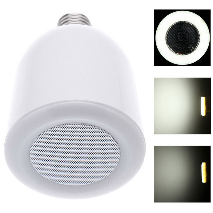 Wireless Bluetooth Audio Speaker w/ E27 Dimmable LED Light - White
