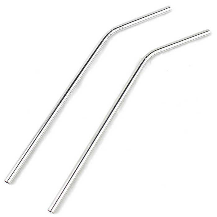 Bending Stirring Rod Stainless Steel Straw - Silver (2PCS)