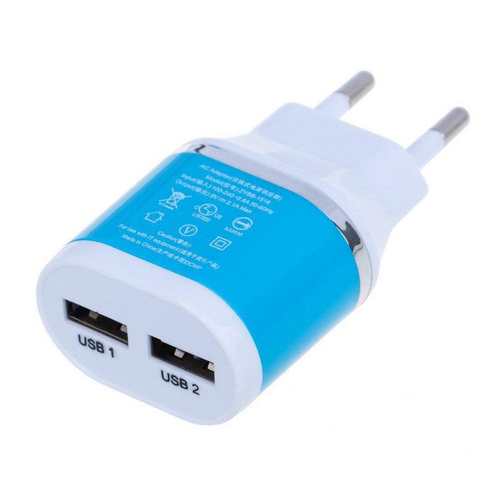 Universal Dual USB Travel Charger - White + Blue (100~240V / EU Plug)AC Chargers<br>Form ColorWhite + BlueModelN/AMaterialABSQuantity1 DX.PCM.Model.AttributeModel.UnitCompatible ModelsGeneralInput Voltage100~240 DX.PCM.Model.AttributeModel.UnitOutput Current2.1 DX.PCM.Model.AttributeModel.UnitOutput Power10 DX.PCM.Model.AttributeModel.UnitOutput Voltage5 DX.PCM.Model.AttributeModel.UnitPower AdapterEU PlugPacking List1 x Charger<br>