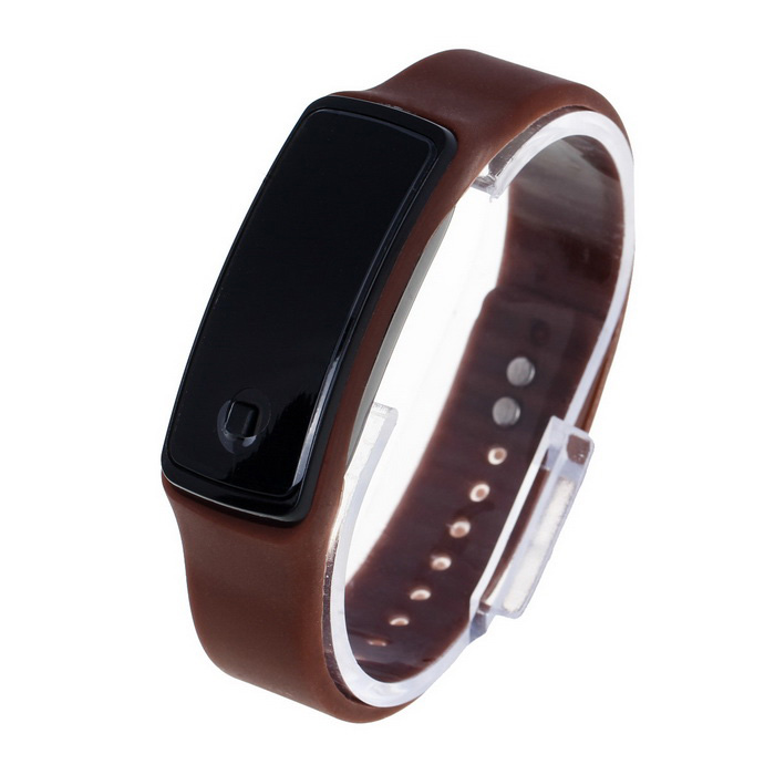 Unisex Fashion Sports Rubber Band LED Digital Wrist Watch - BrownLED Watches<br>Form ColorBrownQuantity1 DX.PCM.Model.AttributeModel.UnitShade Of ColorBrownCasing MaterialPlasticWristband MaterialRubberSuitable forAdultsGenderUnisexStyleWrist WatchTypeSports watchesDisplayDigitalBacklightREDMovementDigitalDisplay Format12 hour formatWater ResistantFor daily wear. Suitable for everyday use. Wearable while water is being splashed but not under any pressure.Wristband Length22.5 DX.PCM.Model.AttributeModel.UnitDial Diameter2 DX.PCM.Model.AttributeModel.UnitDial Thickness1.2 DX.PCM.Model.AttributeModel.UnitBand Width1.2 DX.PCM.Model.AttributeModel.UnitBatteryAG13/1Packing List1 x Watch<br>