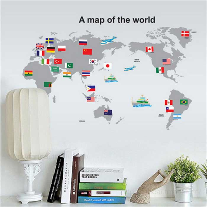 Removable world map pvc wall decal sticker grey free shipping removable world map pvc wall decal sticker grey gumiabroncs Image collections