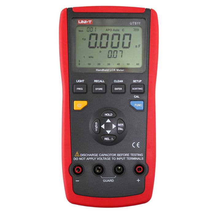 UNI-T UT611Digital LCR Meters (Without Battery)Testers &amp; Detectors<br>Form  ColorRed + GreyModelUT611Quantity1 DX.PCM.Model.AttributeModel.UnitMaterialABSScreen Size2.93 DX.PCM.Model.AttributeModel.UnitPowered ByOthers,9V Battery (6F22) or USBBattery Number1Battery included or notNoCertificationCEPacking List1 x Host1 x SMD test tweezers1 x Adapter socket1 x English Manual<br>
