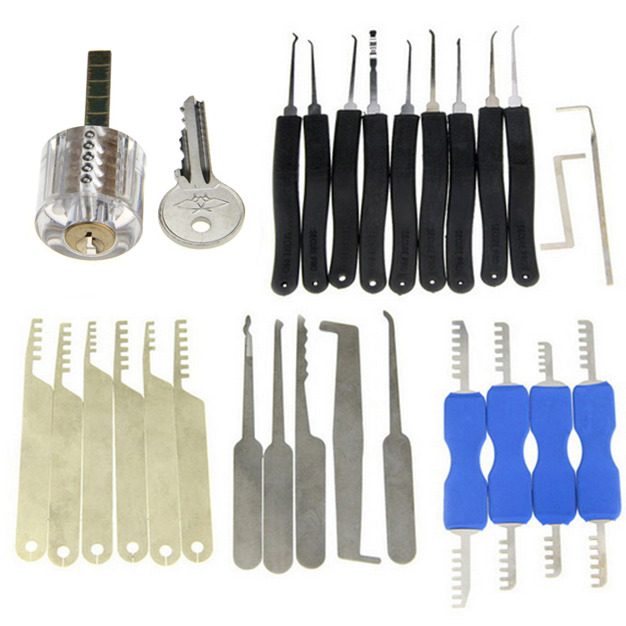 28-in-1 Transparent Practice Lock Picking Tools SetLocksmith Supplies<br>ModelN/AQuantity1 DX.PCM.Model.AttributeModel.UnitForm  ColorOthers,Transparent + Black + Silver + BlueMaterialABS + stainless steelPacking List1 x Lock with 1 key9 x Lock picks (with Z and L shaped quick-picking lock pick tools)4 x Double-end comb style stainless steel lock picks5 x Single-hook lock picks6 x Comb style lock picks<br>