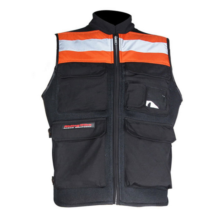 RidingTribe Reflective Riding Safety Vest - Black + Orange (XL)