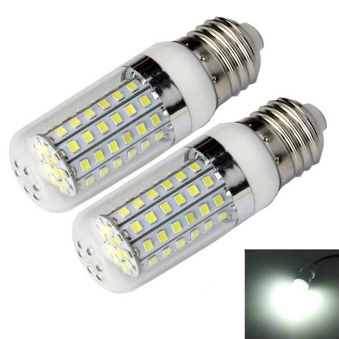 E27 15W Corn Bulb Lamp Cold White Light 1300lm 72-SMD 2835 (2PCS)E27<br>Form  ColorWhite + SilverColor BINCool whiteMaterialPlastic + aluminumQuantity2 DX.PCM.Model.AttributeModel.UnitPowerOthers,15WRated VoltageAC 220-240 DX.PCM.Model.AttributeModel.UnitConnector TypeE27Chip BrandHugaChip TypeLEDEmitter TypeOthers,2835 SMDTotal Emitters72Theoretical Lumens1600 DX.PCM.Model.AttributeModel.UnitActual Lumens1300 DX.PCM.Model.AttributeModel.UnitColor Temperature6500KDimmableNoBeam Angle360 DX.PCM.Model.AttributeModel.UnitCertificationCE, RoHSPacking List2 x LED bulbs<br>
