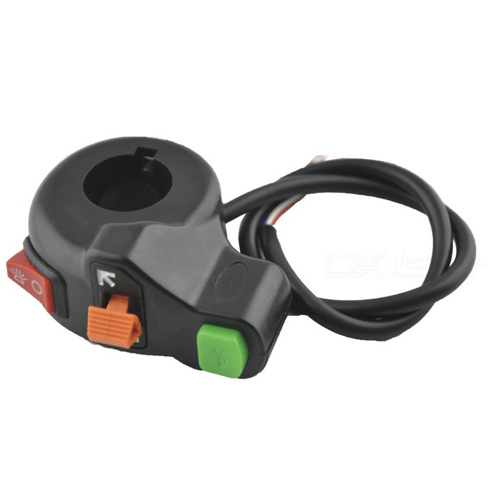 Motorcycle Turn Light / Horn / Headlight Switch - Black+Red+Multicolor