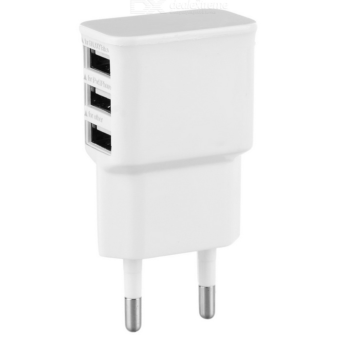 EU Plug 3-Port USB Travel Charger for Smart Phones - White (100~240V)