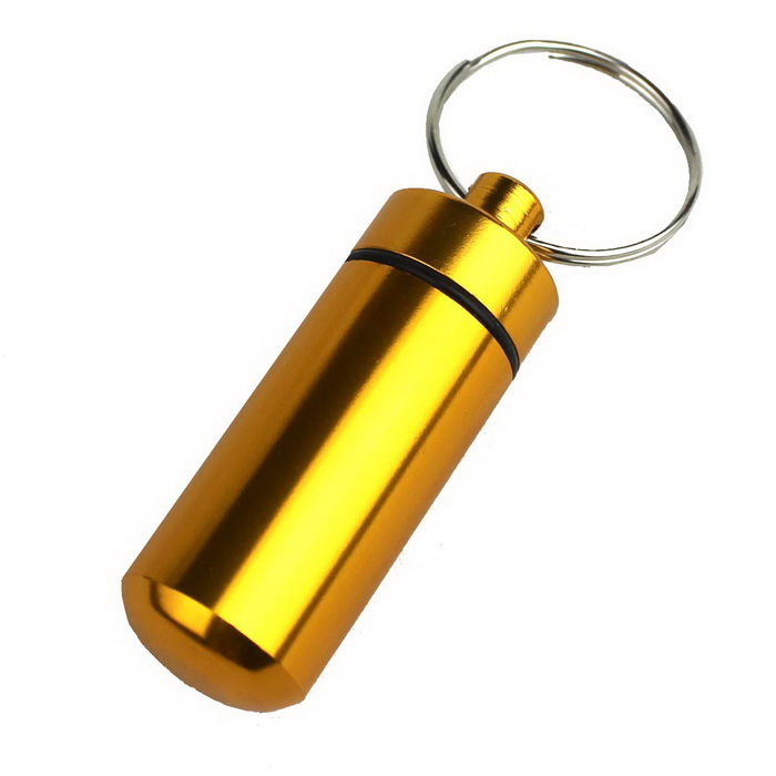 Buy Mini First Aid Pill Keychain Medicine Storage Box - Gold + Silver with Litecoins with Free Shipping on Gipsybee.com