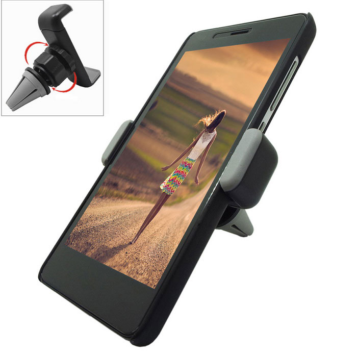 360' Rotary Car Outlet Mount for IPHONE, Samsung + More - Black + Grey