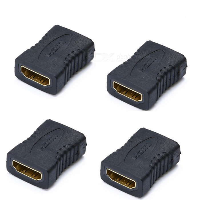 Gold Plated HDMI Female to Female Adapters Converters - Black (4PCS)