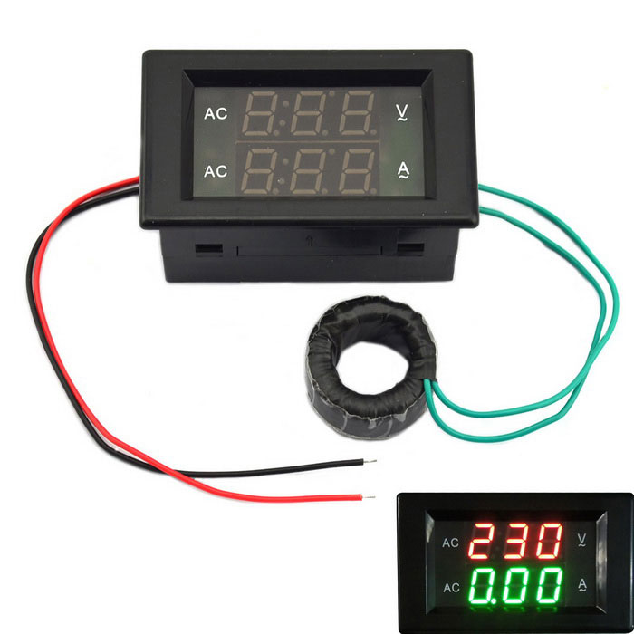 Jtron 3-digit AC 60~300V 10A Voltage Current Meter - Black