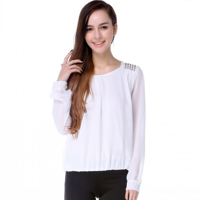 Women's Round Neck Bubble Chiffon Shirt - White (M)