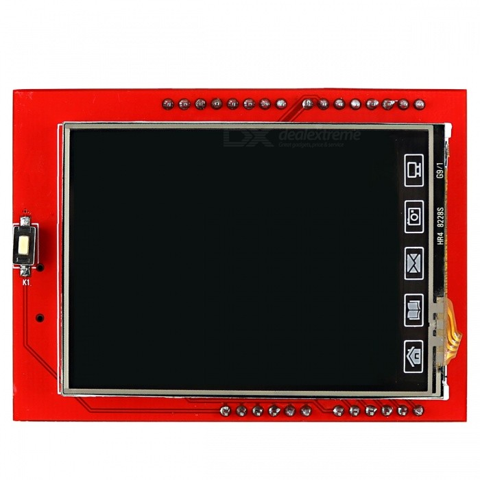 2.4 TFT LCD Touch Screen Board Expansion Shield for ArduinoBoards &amp; Shields<br>Form ColorRed + BlackModelN/AQuantity1 DX.PCM.Model.AttributeModel.UnitMaterialPCB + Alloy + PlasticEnglish Manual / SpecYesDownload Link   http://pan.baidu.com/s/1bn0k1n5Packing List1 x TFT LCD Shield<br>
