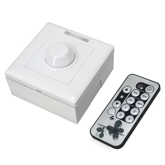 LED Dimmer 13-Key IR Remote Controller - White + Black (DC 12~24V)