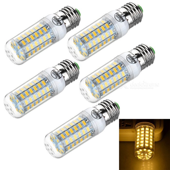 E27 11W IC Constant-current Drive LED Lamp Warm White 69-SMD (5PCS)