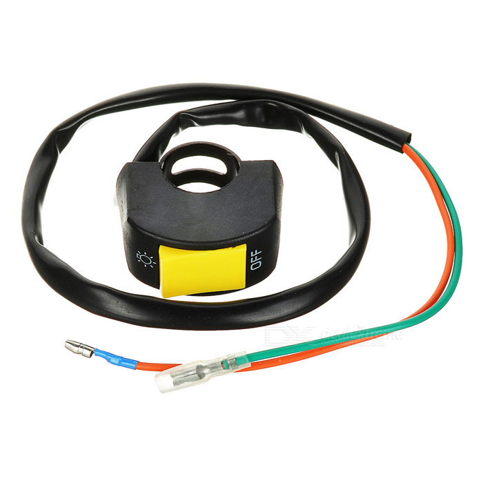 Motorcycle Handlebar LED Headlight Switch - Black + YellowOthers<br>Form ColorBlack + YellowQuantity1 DX.PCM.Model.AttributeModel.UnitMaterialABSTypeOthers,Switch with 2 wiresWaterproof FunctionNoInterfaceOthersPacking List1 x Switch (60cm)<br>
