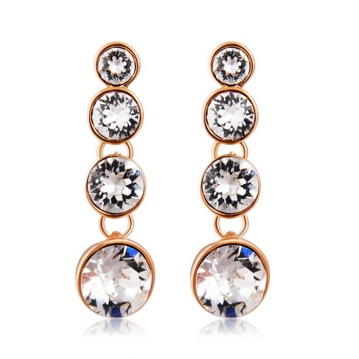 Vrouwen'sSimpleStyleHangingRoundCrystalearrings-RosyGold