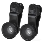 Universal 0.67x Wide-Angle + Macro + Fisheye Clip-on Camera Lens - Black (2 PCS)