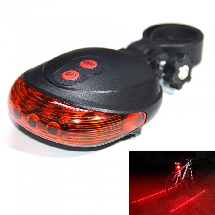 Bicycle Bike 9-Mode 5-LED Red Light Tail Warning Safety Light