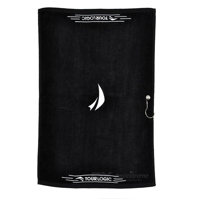 Buy TOURLOGIC Outdoor Golf Playing Cotton Towel - Black with Litecoins with Free Shipping on Gipsybee.com