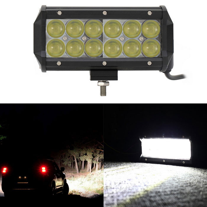 60W 12-LED Off-road 4WD UTV White Spot Beam Worklight Bar Lamp w/ LensOff-Road Lights<br>Color BIN60W SpotModelN/AQuantity1 DX.PCM.Model.AttributeModel.UnitMaterialAluminumForm ColorBlackEmitter TypeLEDChip BrandOthers,N/AChip TypeXTETotal EmittersOthers,12PowerOthers,60WColor Temperature6000 DX.PCM.Model.AttributeModel.UnitTheoretical Lumens6000 DX.PCM.Model.AttributeModel.UnitActual Lumens5100 DX.PCM.Model.AttributeModel.UnitRate Voltage10~30V DCWaterproof FunctionYesConnector TypeOthers,WiringOther FeaturesWaterproof rating: IP67ApplicationHeadlamp,Foglight,Roof light,Others,N/ACertificationCE / RoHSPacking List1 x Work light bar (40cm power cord)1 x Bracket3 x Screws1 x Nut3 x Gaskets1 x Wrench<br>