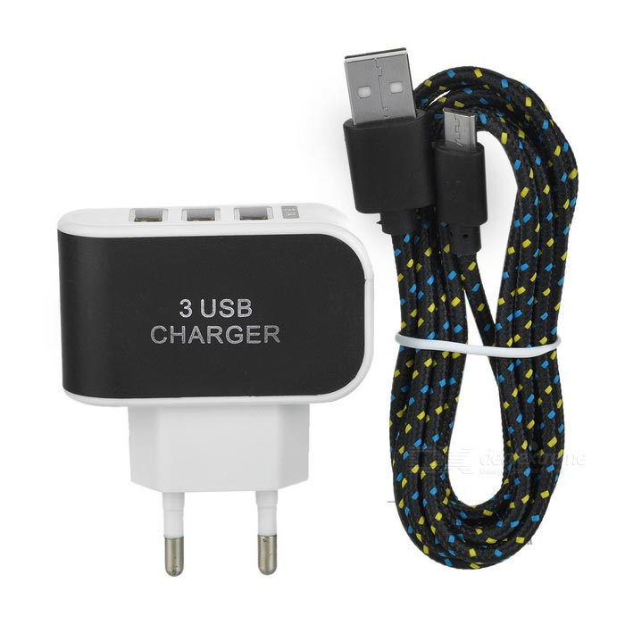 Cwxuan Smart Quick Charging 3-USB Adapter + Micro USB Cable - BlackAC Chargers<br>Form ColorBlackModelN/AMaterialPlasticQuantity1 DX.PCM.Model.AttributeModel.UnitCompatible ModelsUniversalOutput Current1 / 1 / 1 DX.PCM.Model.AttributeModel.UnitOutput Power15 DX.PCM.Model.AttributeModel.UnitInput Voltage100-240 DX.PCM.Model.AttributeModel.UnitOutput Voltage5 DX.PCM.Model.AttributeModel.UnitPower AdapterEU PlugOther FeaturesThe max. total output current: 3.1APacking List1 x EU plug 100~240V power adapter1 x Micro USB cable (200cm)<br>
