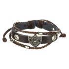 Fashionable Retro Cow Leather Bracelet - Brown + Silver
