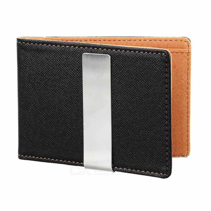 PU Leather Wallet Purse w/ Stainless Steel Money Clip