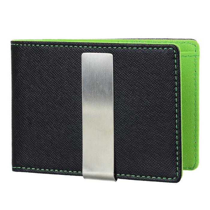 PU Leather Wallet Purse w/ Stainless Steel Money Clip - Black + GreenWallets and Purses<br>Form ColorBlack + GreenQuantity1 DX.PCM.Model.AttributeModel.UnitShade Of ColorBlackMaterialPU leatherGenderUnisexSuitable forOthers,Adults, children, couplesOpeningOthers,Horizontal, squareStyleCasualWallet Dimensions11 x 7.8 x 0.9cmFold DimensionsFolded in halfOther FeaturesIncludes 1 large compartment, 3 card slots, 1 secret compartment and 1 clip; Fashionable design.Packing List1 x Wallet<br>