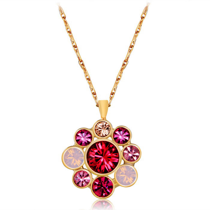Xinguang Flower Splicing Style Crystal Necklace for Women - Golden