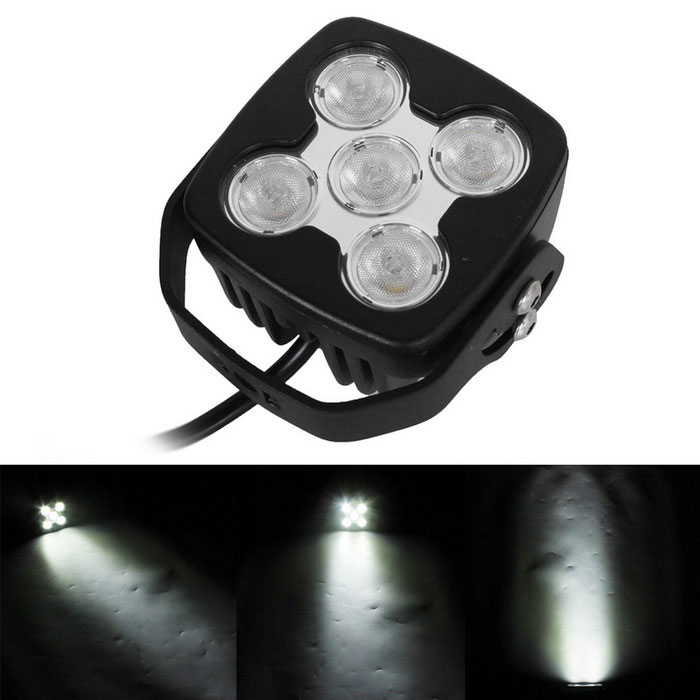 Flood 50W 5-LED Vehicle White Light Working Auxiliary Lamp - Black