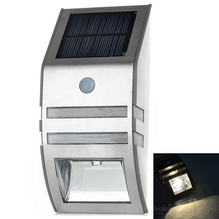 Solar Powered Waterproof SMD LED PIR Motion Sensor Wall Lamp - SilverSolar Lamps<br>Form  ColorSilver + Black + Multi-ColoredMaterialStainless steel + plasticQuantity1 DX.PCM.Model.AttributeModel.UnitWaterproof LevelIP44Emitter TypeOthers,1 x 3528 SMD LED + 1 x 5730 SMD LEDPower0.4 DX.PCM.Model.AttributeModel.UnitWorking Voltage   3.2 DX.PCM.Model.AttributeModel.UnitBattery Capacity500 DX.PCM.Model.AttributeModel.UnitLumens40 DX.PCM.Model.AttributeModel.UnitBattery Charging Time4~5hrsWorking Time8~12 DX.PCM.Model.AttributeModel.UnitCertificationCEOther FeaturesColor temperature: 2800~3500K; Life: 50000hrsPacking List1 x Solar lamp1 x Installation accessories pack1 x English manual<br>