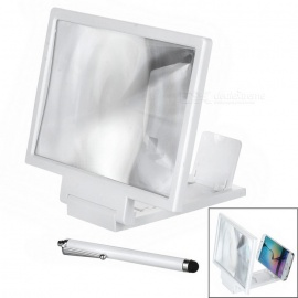 Folding 3D Screen Magnifier w/ Stand + Touch Pen for Phones - White / Black