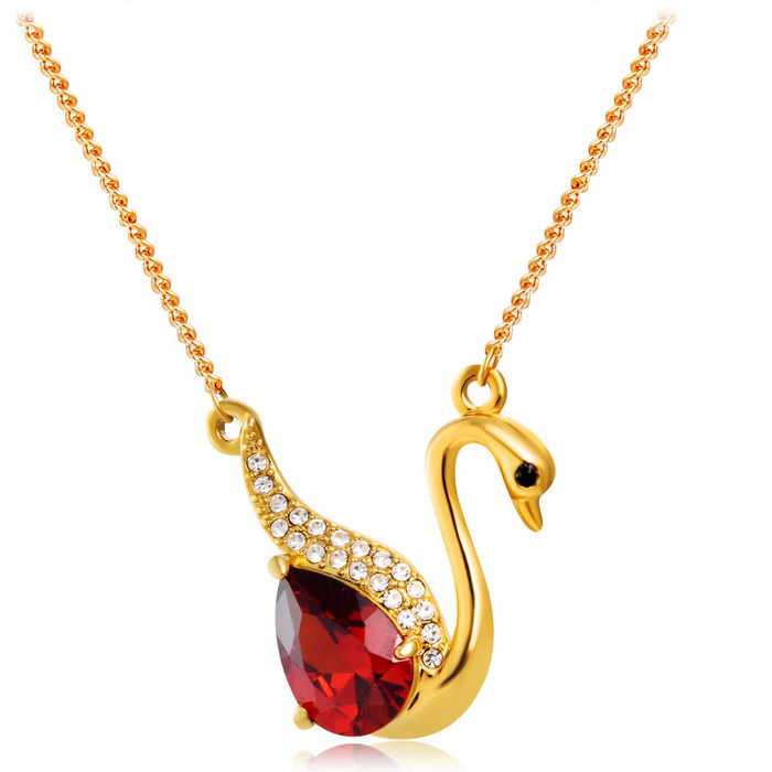 Xinguang Stylish Crystal Swan Shaped Pendant Necklace - Golden