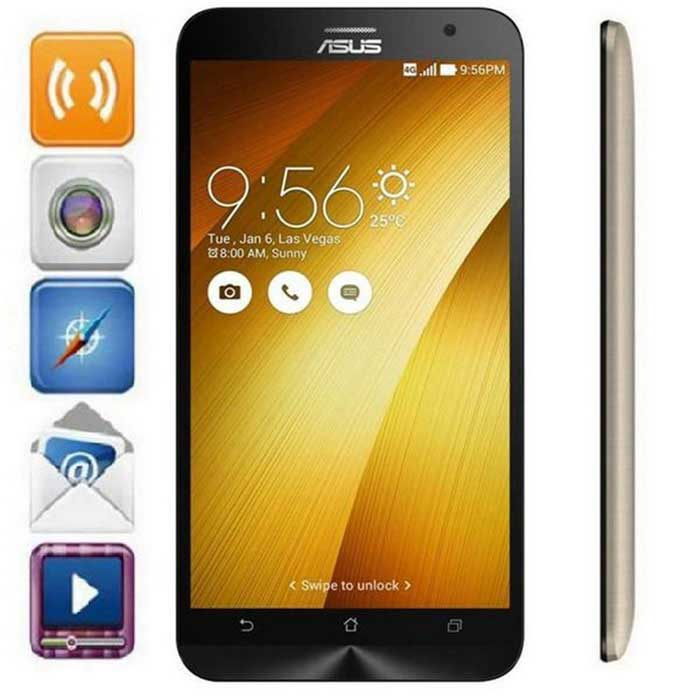 ASUS Z00ADA Android5.0 Quad-Core 4G Phone 2GB RAM, 16GB ROM - GoldAndroid Phones<br>BrandASUSModelZ00ADAQuantity1 pieceMaterialPlasticShade Of ColorGoldTypeBrand NewPower AdapterUS PlugNetwork Type2G,3G,4GBand Details2G: GSM 850/900/1800/1900MHz; 3G: WCDMA 850/900/1900/2100MHz; 4G: FDD-LTE B1/B3       TDD-LTEB38/39/40/41Data TransferGPRS,HSDPA,EDGE,LTE,HSUPANetwork ConversationOne-Party Conversation OnlyWLAN Wi-Fi 802.11 b,g,nSIM Card TypeMicro SIMSIM Card Quantity2Network StandbyDual Network StandbyGPSYesNFCYesInfrared PortNoBluetooth VersionBluetooth V4.0Operating SystemAndroid 5.0CPU ProcessorAtom Z3560, 64 bit, Quad Core, 1.8GHzCPU Core QuantityQuad-CoreLanguageEnglish, Afrikaans, Bahasa Indonesia, Bahasa Melayu, Catala,<br>Cestina, Dansk, Deutsch, Eesti, Espanol,  Filipino, French, Hrvatski, Isizulu,<br>Kiswahili, Italiano, Latviesu, Lietuviu, Magyar, Nederlands, Norsk, Polish,<br>Portuguese, Romana, Rumantsch, Slovencina, Slovenscina, Suomi, Svenska,<br>Vietnamese, Turkish, Greek, Bulgarian, Russian, Serbian, Ukrainian, Urdu,<br>Hebrew, Arabic, Persian, Thai, Khmer, Hindi, Bengali, Japanese, Korean,<br>Simplified/Traditional ChineseGPUPowerVR G6430Available MemoryN/AMemory CardYesMax. Expansion SupportedSupport TF card up to 64GB extendedSize Range5.5 inches &amp; OverTouch Screen TypeOthers,IPS Corning? Gorilla? Glass 3Screen Resolution1920*1080Multitouch10Screen Size ( inches)5.5Camera Pixel13.0MPFront Camera Pixels5.0 MPVideo Recording Resolution1080PFlashYesAuto FocusYesTouch FocusYesTalk Time120~150 minutesStandby Time120~180 hoursBattery Capacity3000 mAhBattery ModeNon-removablefeaturesWi-Fi,GPS,FM,Bluetooth,NFCSensorG-sensor,Proximity,Compass,Accelerometer,Others,Light sensor, gyroscope sensors, rotation vector sensorWaterproof LevelIPX0 (Not Protected)I/O InterfaceMicro USB,3.5mm,SIM SlotUSBMicro USB v2.0,OTGSoftwarePlay store, Amazon Kindle, Email, Drive, FM, FlashLight, Kids Mode, Mirror, Music, YouTube, Weather, Gmail, Google, Google+, Browser, Came