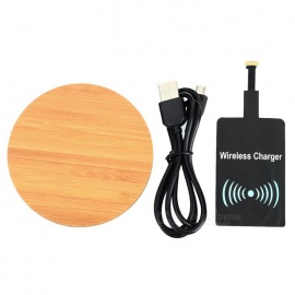 Bamboo Wireless Charger + Android Phone Wireless Receiver - Wood Color