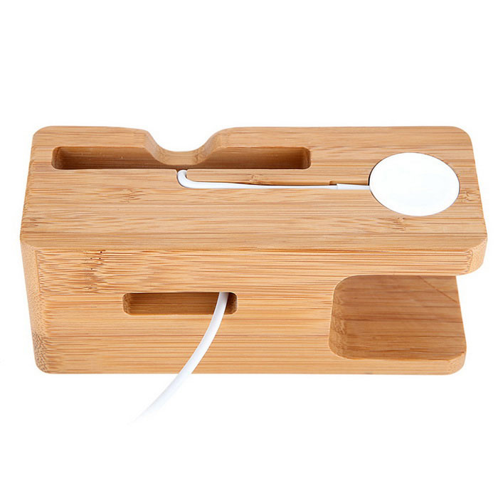 Bamboo Charging Stand Holder for Apple Watch / IPHONE - Wood Color
