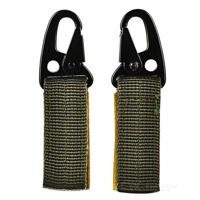 Molle Webbing Hook Buckle Carabiner w/ Key Ring (2PCS)
