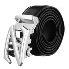 Leather Belt w/ Z Pattern Automatic Buckle - Silver White + Black