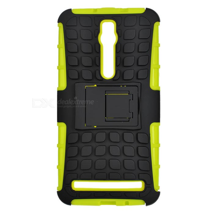 TPU + PC Case w/ Holder for ASUS Zenfone 2 - Green + BlackLeather Cases<br>Form ColorGreen + BlackModelN/AMaterialTPU + PCQuantity1 DX.PCM.Model.AttributeModel.UnitShade Of ColorGreenCompatible ModelsASUS Zenfone 2Packing List1 x Case<br>