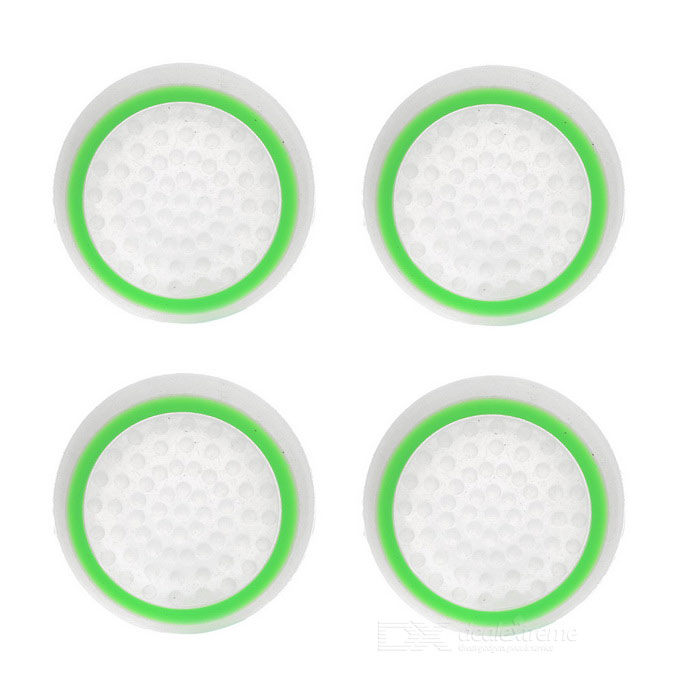 Gamepad Thumb Stick Grips Cap for PS4, XBOX One - Green + White (4PCS)Other Accessories<br>Form ColorWhite + GreenQuantity1 DX.PCM.Model.AttributeModel.UnitMaterialSiliconeShade Of ColorWhiteCompatible ModelsPS2,PS3,PS3 Slim,PS4,Others,XBOX OnePacking List4 x Caps<br>