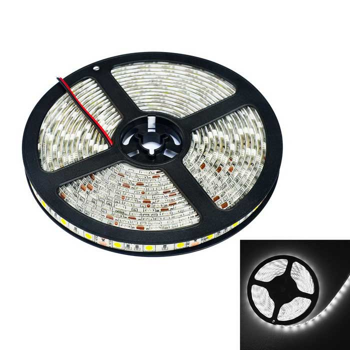JIAWEN Waterproof 64W Cold White 5120lm 300-LED Strip Lamp (5m)5050 SMD Strips<br>Form ColorWhiteColor BINCold WhiteMaterialCircuit board + rubberQuantity1 DX.PCM.Model.AttributeModel.UnitPowerOthers,64WRated VoltageDC 12 DX.PCM.Model.AttributeModel.UnitEmitter Type5050 SMD LEDTotal Emitters300Color Temperature6000-6500KWavelengthN/ATheoretical Lumens5120 DX.PCM.Model.AttributeModel.UnitActual Lumens5120 DX.PCM.Model.AttributeModel.UnitPower AdapterWithout Power AdapterPacking List1 x Strip Light (5m)<br>