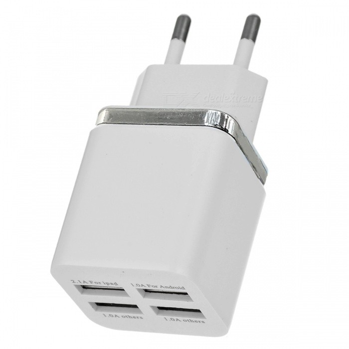Cwxuan Fast Charging 4-USB 5V EU Plug Power Charger - White