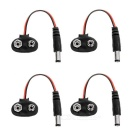 9V Battery Snap Connector to DC 5.5 x 2.1mm Male Cable - Red (4PCS)