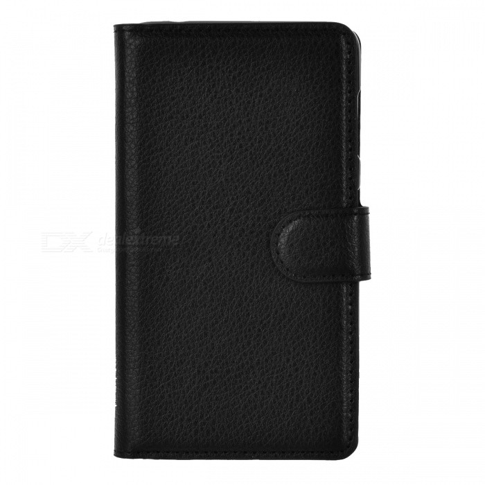 Lychee Pattern Case w/ Stand, Card Slots for Nokia Lumia 625 - Black