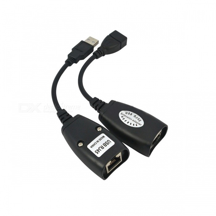 USB 2.0 to RJ45 Extension Adapters - Black (2PCS)