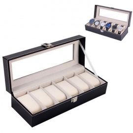 6-Piece Wrist Watch Display Storage Watch Box Container - Black