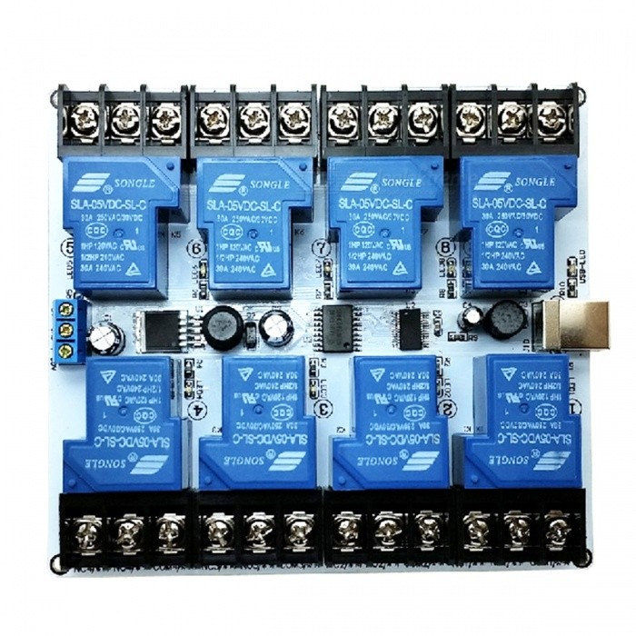 8 channel 30a high current usb relay module blue free shipping rh dx com Current Sensing Relay Current Relay with Capacitor