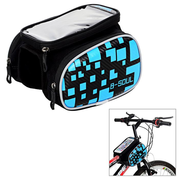 B-SOUL Bike Tube Saddle Bag w/ Touch Screen for 5.5 Phone - BlueBike Bags<br>Form ColorBlack + BlueQuantity1 DX.PCM.Model.AttributeModel.UnitMaterialPolyesterTypeOthers,Top tube bagCapacity1.5 DX.PCM.Model.AttributeModel.UnitWaterproofYesGenderUnisexBest UseCycling,Road CyclingCertificationCEPacking List1 x Bike bag<br>